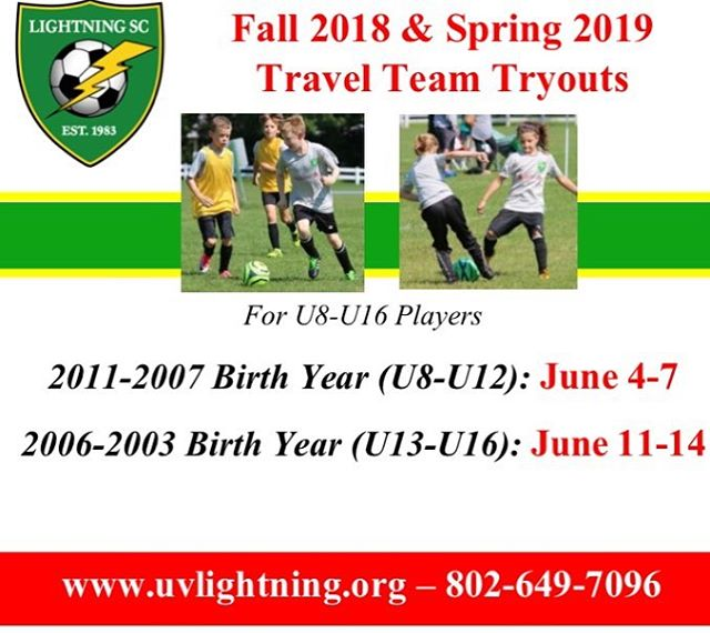Fall 2018 and Spring 2019 Travel Team Tryouts coming soon! Make sure to use the link in the bio to pre-register online.