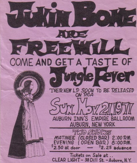 'Jukin Bone' - When the band signed to RCA in 1972 the name was changed to 'Jukin'Bone', here is a transition poster letting the fans know.