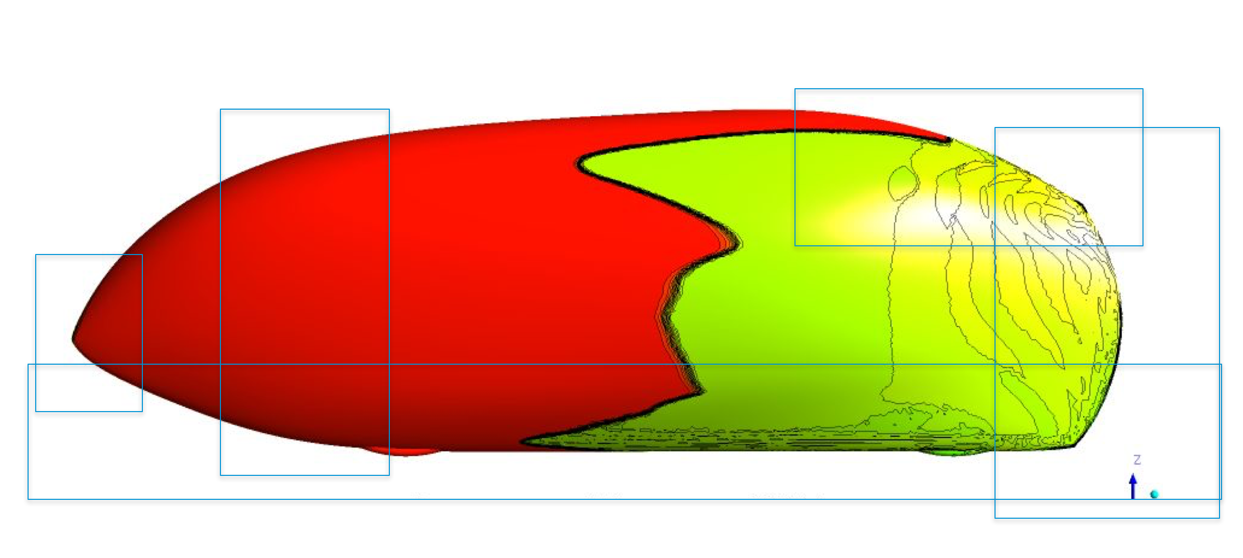 The higher the speed of travel, the more significant is the role of aerodynamics in the consumption of the available power - specifically the aerodynamic drag that accounts about 2/3 of the overall drag. The external shape of the HPV has been carefully developed since 2015 by aerodynamicist Glen Thompson using a digital wind tunnel simulation process called Computational Fluid Dynamics (CFD). This takes into account a number of critical factors, including the speed of travel, the lower air density at 1400m altitude, and the smoothness of the polished exterior surface.
