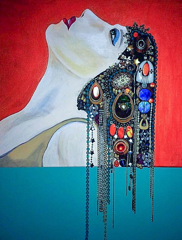 """DIVA"" - ACRYLICS AND VINTAGE JEWELRY ON CANVAS"