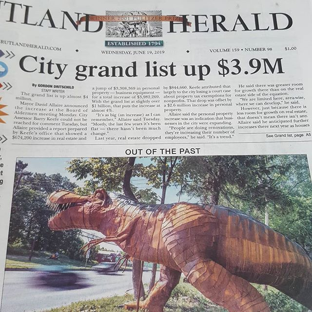 Front page of today's paper....pretty cool! . . . #macsteelvt #metalart #trex #rutlandvermont #frontpage #haveyouseenit #roadsideatttraction #vermont