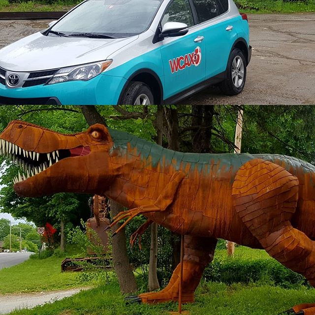 If you're able, check out WCAX channel 3 news tonight. Adam Sullivan stopped by to check out the T-rex. #macsteelvt #vermont #rutlandvermont #roadsideatttraction #trex #itsart  #metalart #wcax #localnews