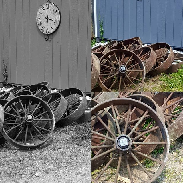 A customer's find...heading to a new home. . . . #macsteelvt #scrapyard #metalart #wheels #upcycle #recycle #rutlandvermont #vermont #whatsyourart