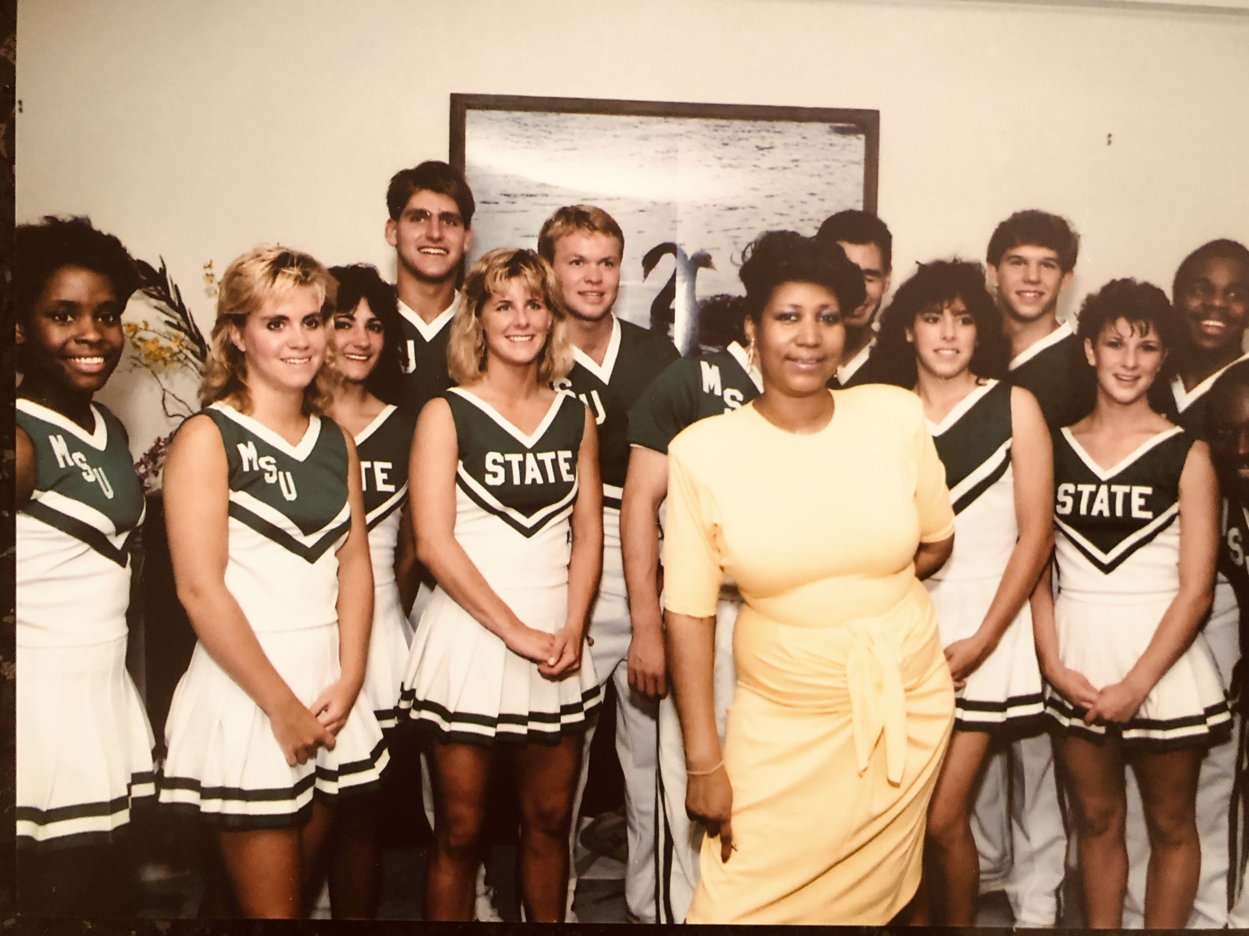 Aretha surprised her son Teddy at his college graduation party by inviting the entire Michigan State University cheerleading squad to their home!