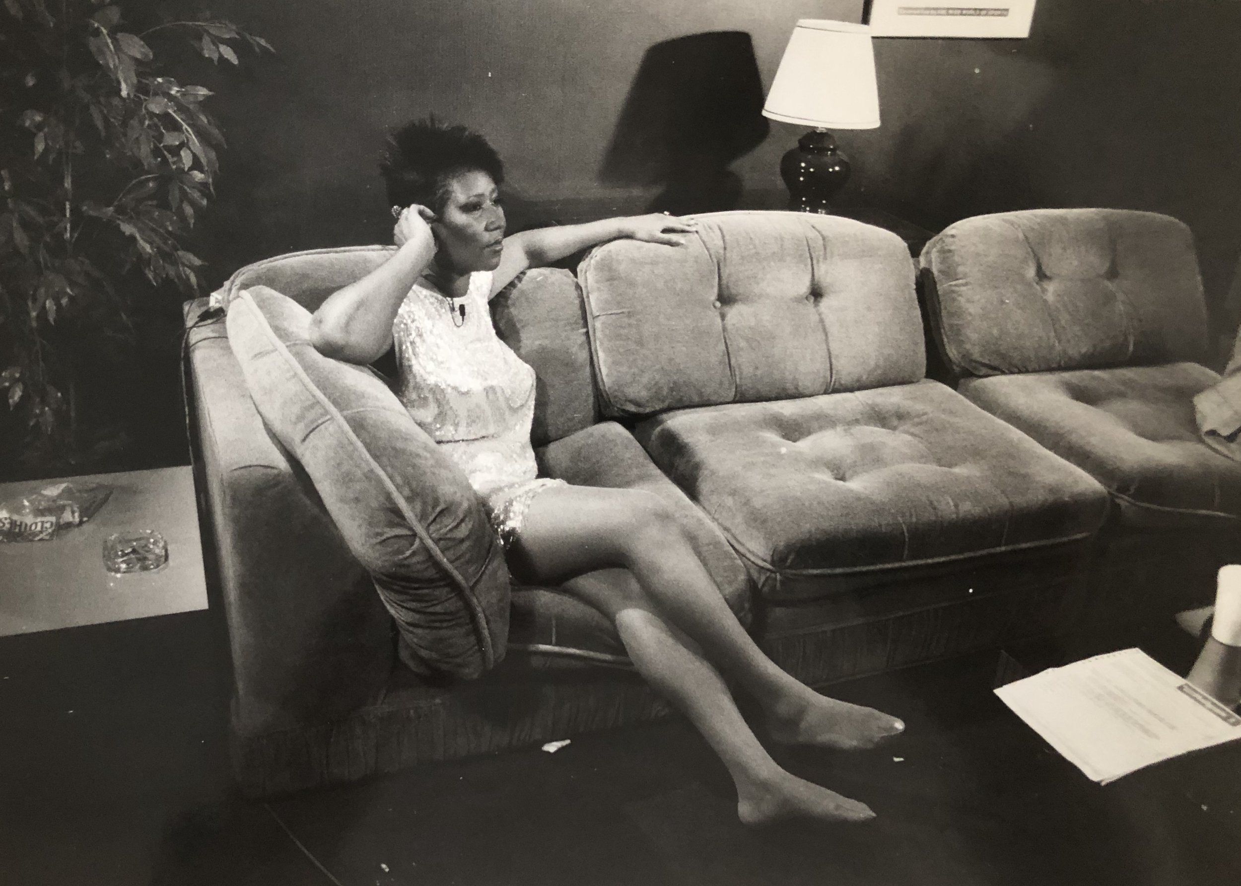 Backstage in her dressing room accepting her American Music Award via satellite from Detroit.