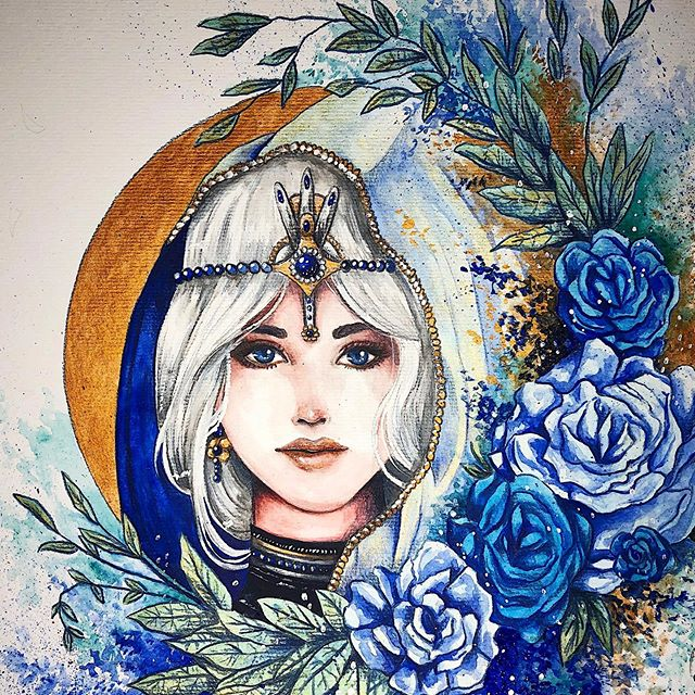 """MYSTIC"" . ✨ Blue roses symbolize mystery or the search of impossible dreams. It is believed they bring its owner youth or a wish come true. ❤️ When I started this artwork, I didn't expect it to become ""blue"", but it did. I keep challenging myself to work with different paletes and color combinations - giving my art different meanings and feelings. Let me know what you think 💙 . . . http://danydiniz.com . . . #danydiniz #danydinizart #blueroses #rosesart #watercolorartwork #watercolorpainting #blueart"