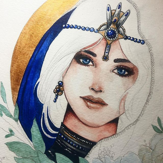 ✨ I almost don't share work in progress, I decided to share this one. I am in love with the contrast between blue and gold. Let me know what you think ❤️ . . . http://danydiniz.com . . . #danydiniz #danydinizart #workinprogressart #wip #watercolorpainting