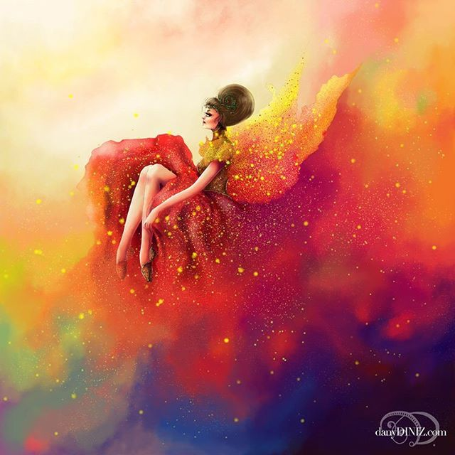 """PHOENIX"" . ✨ A conceptual artwork about rebirth and strength. I used less textures that I usually do. ❤️ let me know your thoughts 🥰 ✨ . . . http://danydiniz.com . . . #danydiniz #danydinizart #instagramartists #digitalart #digitalpaint #surrealart #abstractart #rainbowart #colorfulartwork #phoenixart"