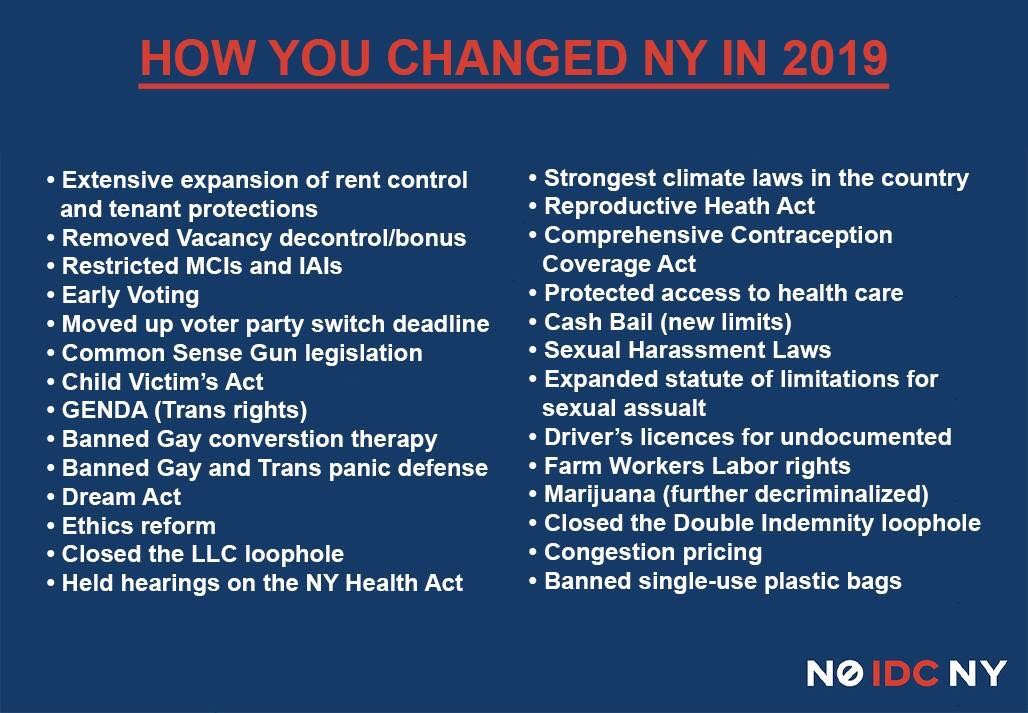 Fortunately, passage of the many long overdue progressive reforms below, as compiled by NoIDCNY, should clear some space for our community.