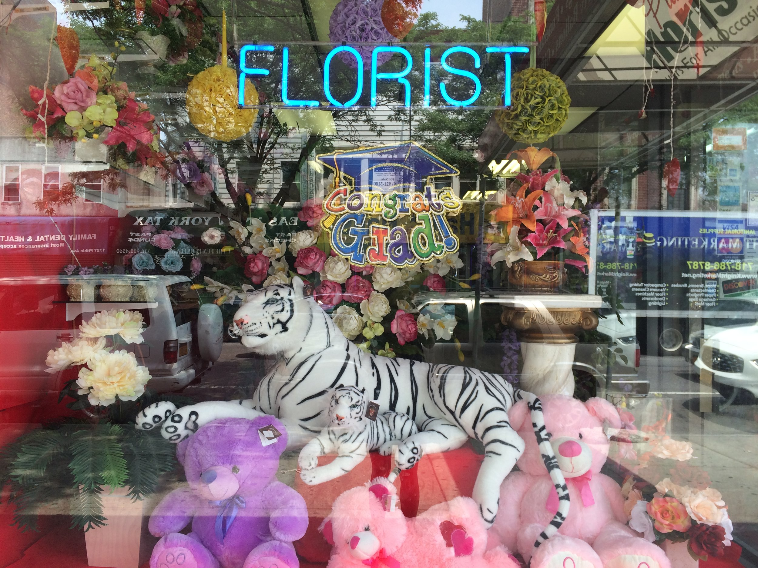 Photo of a flower shop on Pitkin Avenue.