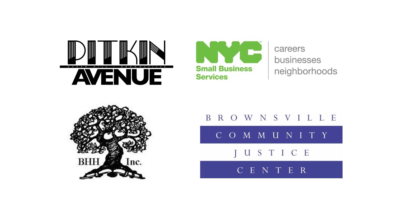Partner logos including Pitkin Avenue BID, NYC Small Business Services, Brownsville Community Justice Center and the Brownsville Heritage House