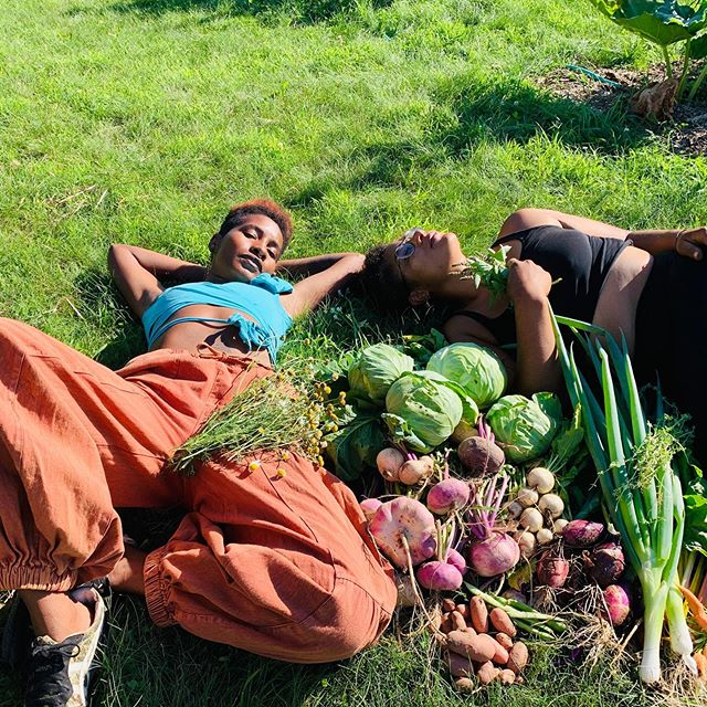 Fuuuuuulll body yes or nah.  Teaching the seeds how to harvest medicines and food, arms deep in gopher holes, holding chicks and goats, life is romantic.  Power to the People.  Love wins. Thank you to my seeds @iza_simone2004 and Mica for helping  #divinenaturalancestry #dnagrows #reparationsnow #farmfashion #farmerlookbook #farmlife #blackfarmers #farmingwhileblack #teachthebabies