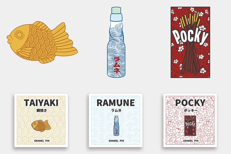 Snack Pin Designs + Packaging Mockups