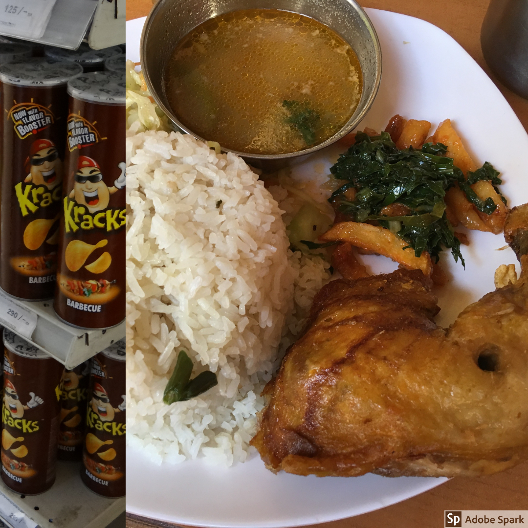 On the left, we have a picture that resembles Pringles. This picture was taken at a grocery store in Nairobi before hitting the road. On the right was a lunch that we had on at a restaurant along the road. We had rice, chicken vegetables, and a gravy.