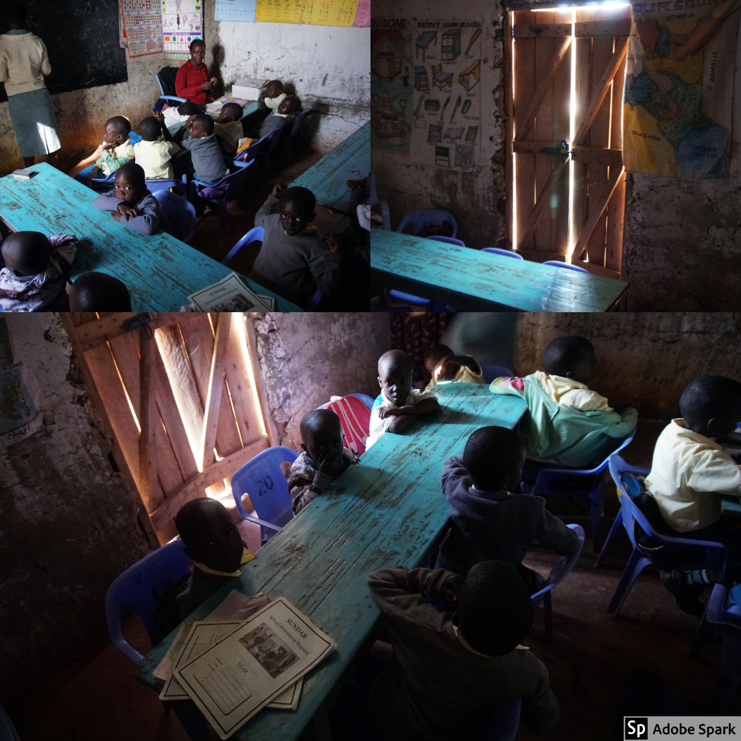 The kindergarten room, as well as the other classrooms, did not have consistent electricity. Each window did have windows, but during the rainy season, it was important to keep the windows closed in order to keep the rain out. This made the classrooms especially dark during storms.
