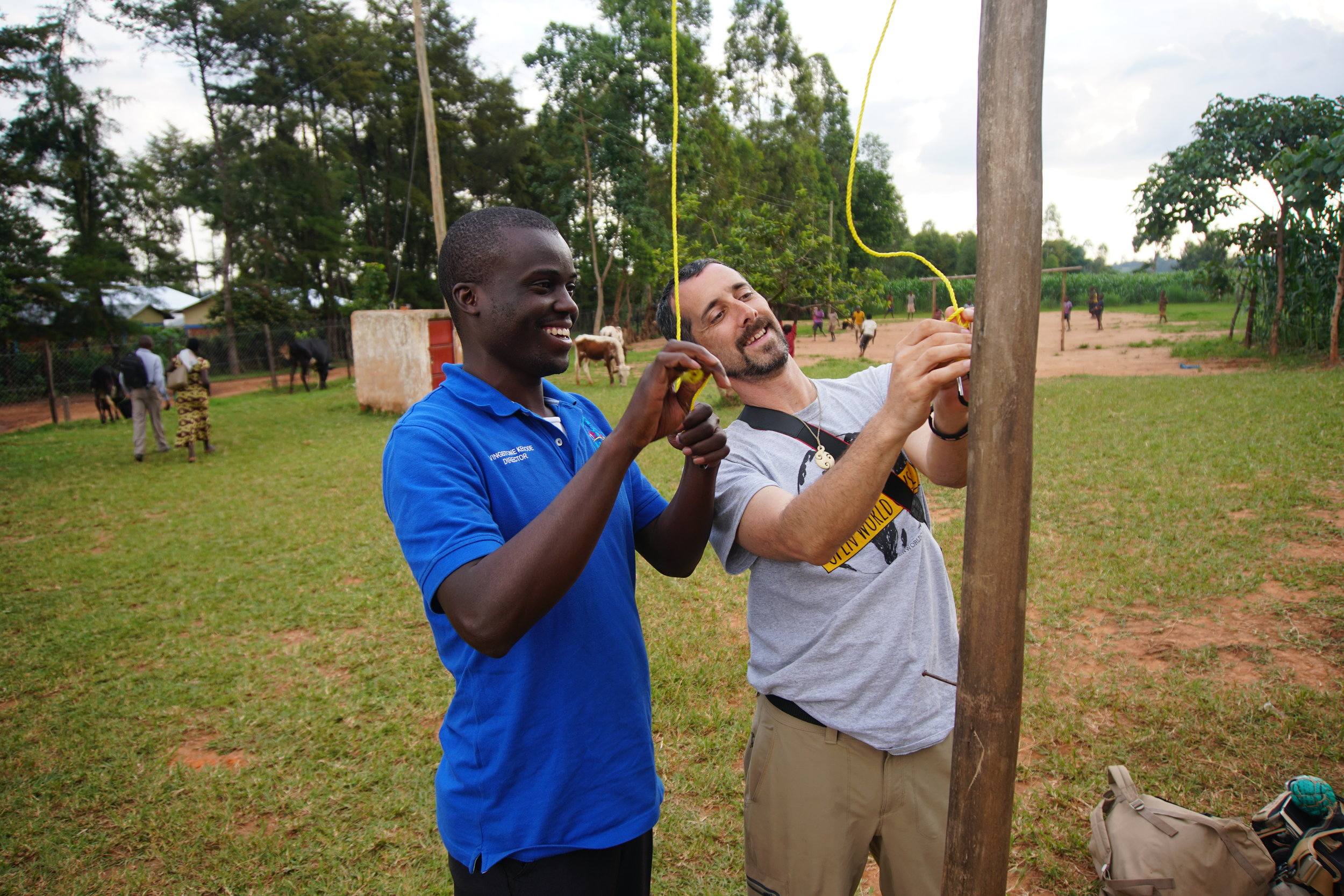 At the beginning of every day, the Kenyan flag would be raised, and at the end of the day, the Kenyan flag would be lowered. John brought with him a carabiner that they rigged to the flag pole to make it easier for HIP's students to be able to raise and lower it every day.