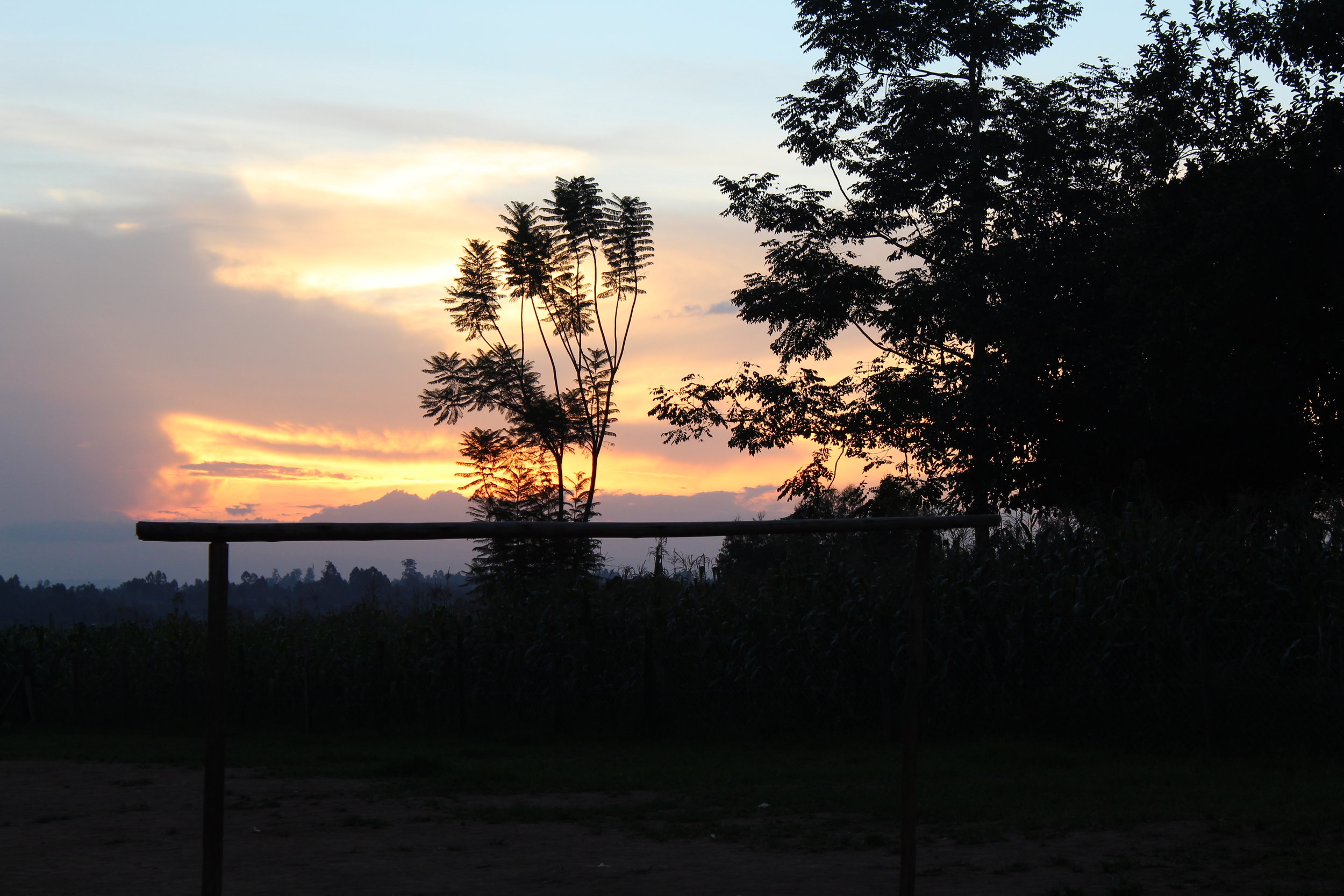 This sunset was from our first night in Kimilili, Kenya. You can see a few different staples from the community including a soccer goal post and corn growing in the fields. Several members of the community would play soccer in the evenings, and most also happened to grow corn in their fields.