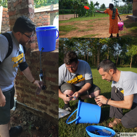 Connor and John were our water gurus. John cut holes in all the buckets while Connor helped install the water filters for the members of the community. On the top right, we have the matron of a family that attends the school carrying her new water filter and trying to throw a bucket.
