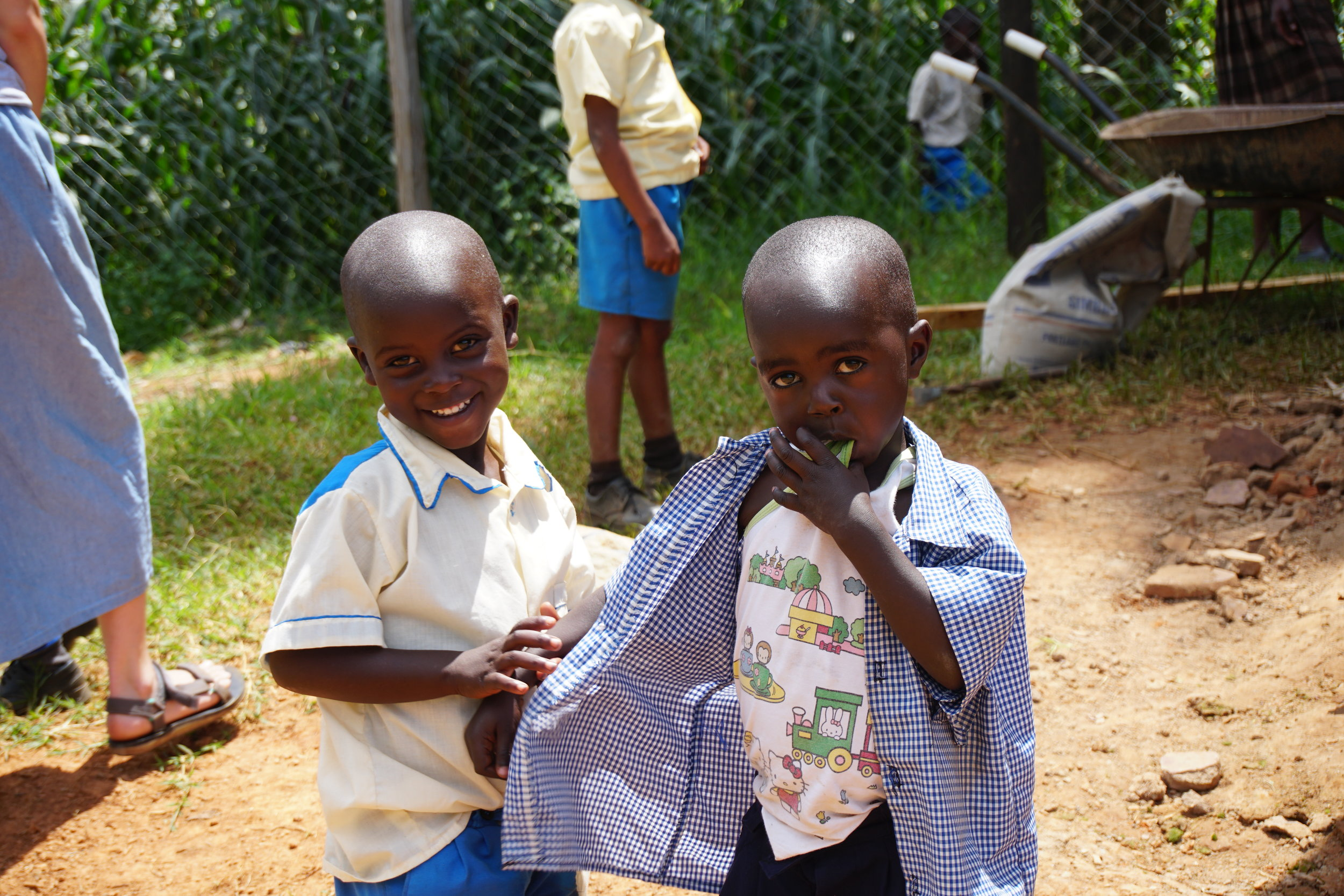 These two boys were from HIP's youngest grade. The students were still getting used to wearing the school uniforms.