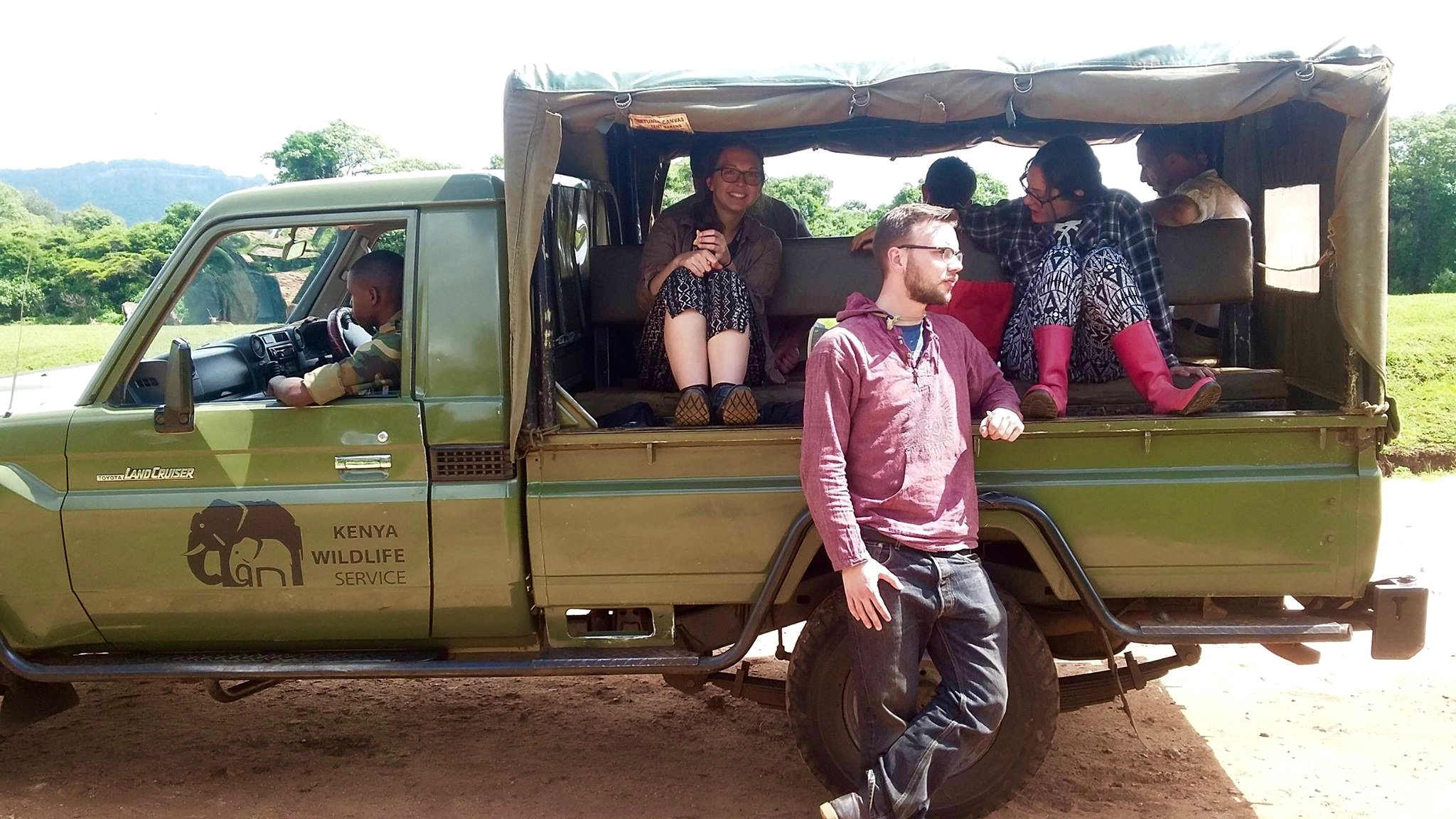 The team traveled in a Land Cruiser for the trip. The back was rigged with two rows of seats, each facing a different direction. Our drivers were also armed guards.