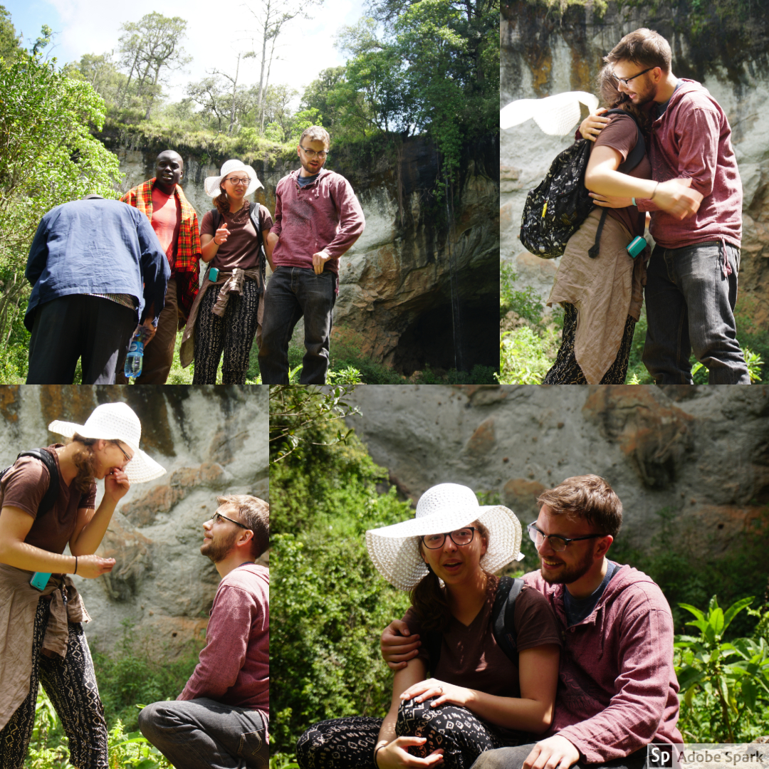 "After Livingstone, our two drivers from the van also wanted to take pictures. Ben encouraged Natalie to climb the boulder as well. After help, Natalie finally climbed and Ben popped the question! This was the first ""American"" proposal for the Kenyans on the trip."