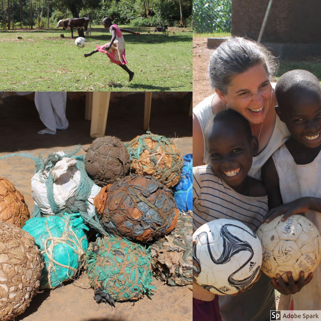 The OWC team brought along soccer balls for the children in the community. We proposed a trade to the kids -- trade a ball for a ball. The balls that had been used were made from plastic bags and ropes.