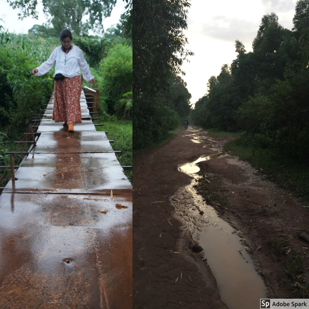 After one of the monsoon rains, Melissa went for a walk. She wanted to retrace the steps that students sometimes take to school, including going back over the metal bridge after the rain. One of the roads in the village had a river running through the middle of it after the rains passed.