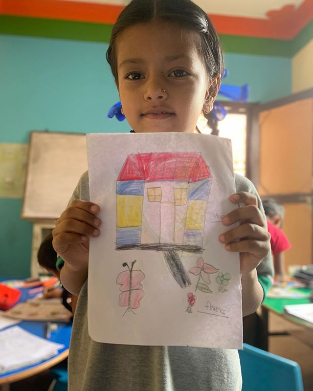 This is one of our favorite pictures from our trip to the TriKa school this summer. Would you be interested in receiving student artwork from TriKa? For $15 a month you can become a sponsor and receive notes and artwork like this from TriKa's students! #travel #nepal #art #education