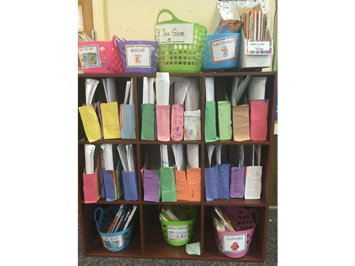 Love how this teacher added the series students wrote to the classroom library so kids could use them as mentor texts!