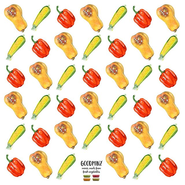 Swooning over the super-sweetness of the sweetcorn, butternut squash and red pepper in Orange GOODMINZ 🌱😍🌱😍 here's a tile of beautiful ingredient illustrations drawn for us by @hennie_haworth
