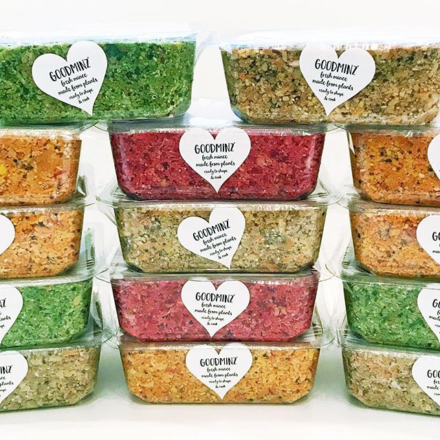 A stack of GOODMINZ – mince made from fresh vegetables…👍 GOODMINZ comes in a 🌈 of four colour-flavours, it's fab shaped into veggie 🍔 and sausages, no-meat balls and crumbled into 🌮. To create your favourite recipes it can be pimped with herbs, spices, seeds, nuts, fruits and other condiments.  GOODMINZ is 1 of your 5 a Day, it is a source of protein, a source of fibre, low in saturated fat and suitable for vegans, vegetarians and anyone wanting to eat more plants! 👉👉 follow us on Instagram or sign up on our website rerootfoods.com/newsletter to hear more… 🌱 🌱 🌱 🌱 #goodminz #veggies #rerootfoods #vegan #veganuary #eatmoreplants #plantbased #vegetarian #yesitsvegan #vegan #veganfood #vegansofig #veganshare #delicious