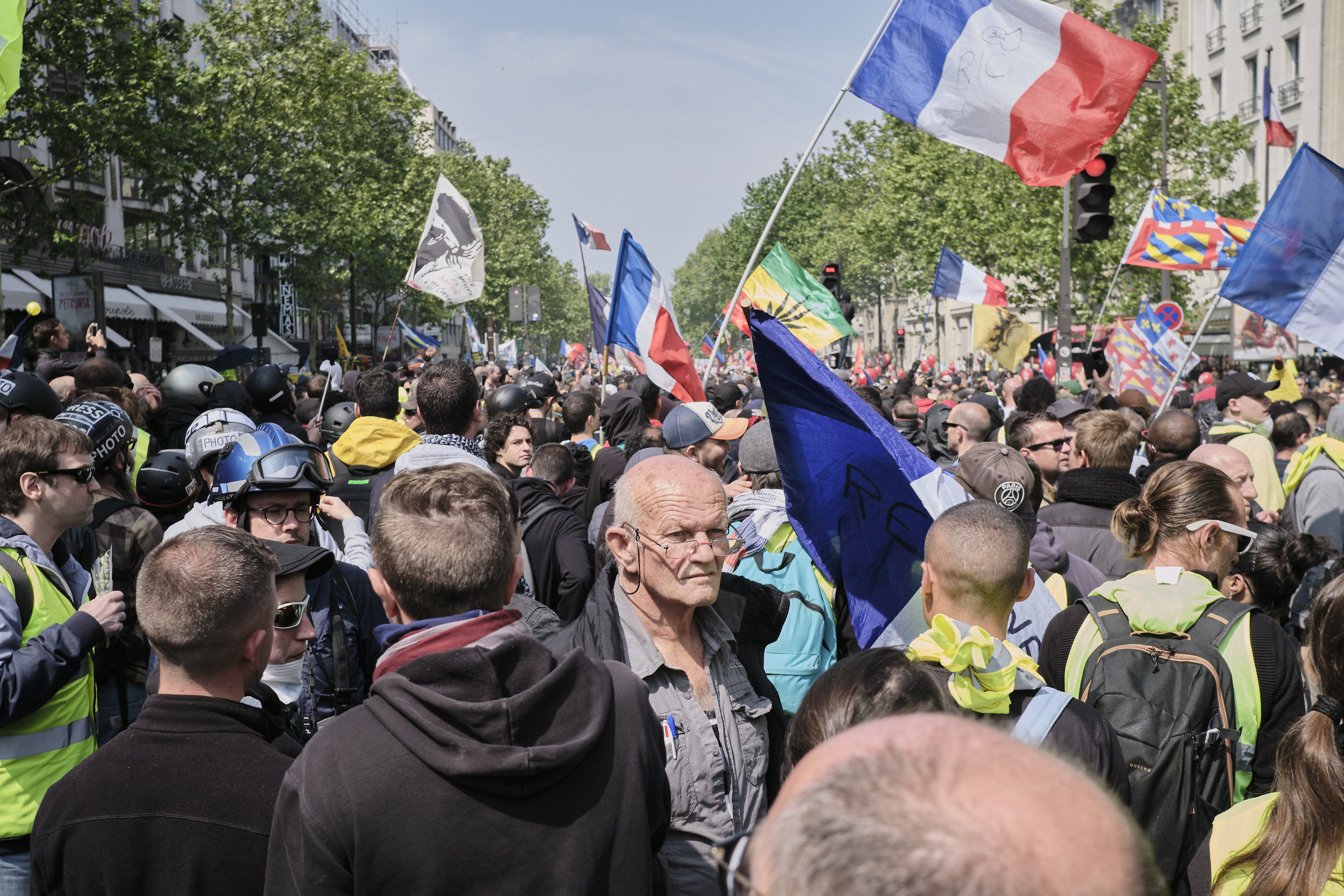Protesters gather at Boulevard du Montparnasse for the march to The La Place D'italie celebrating international worker's day.