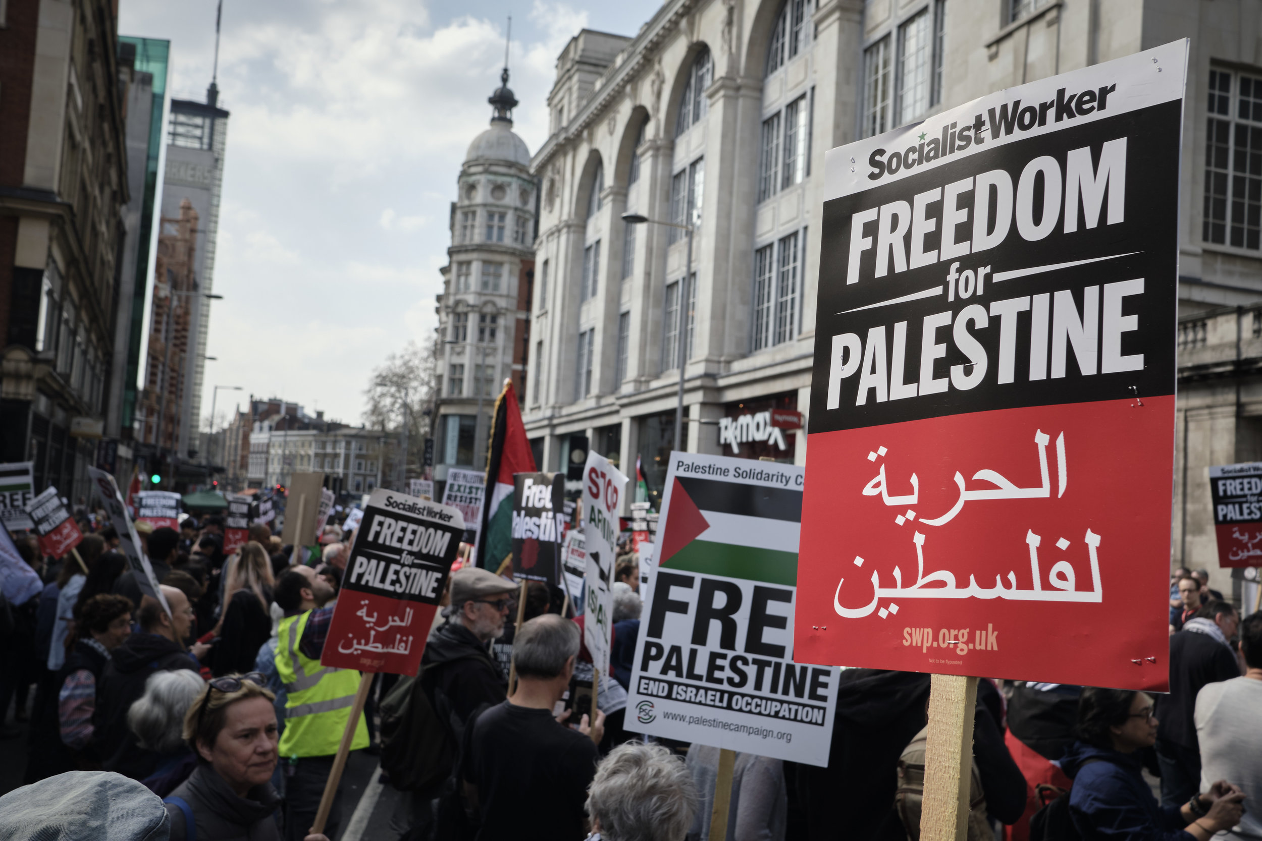 Protest for Palestine in front of Israeli, London. 30th March 2019.
