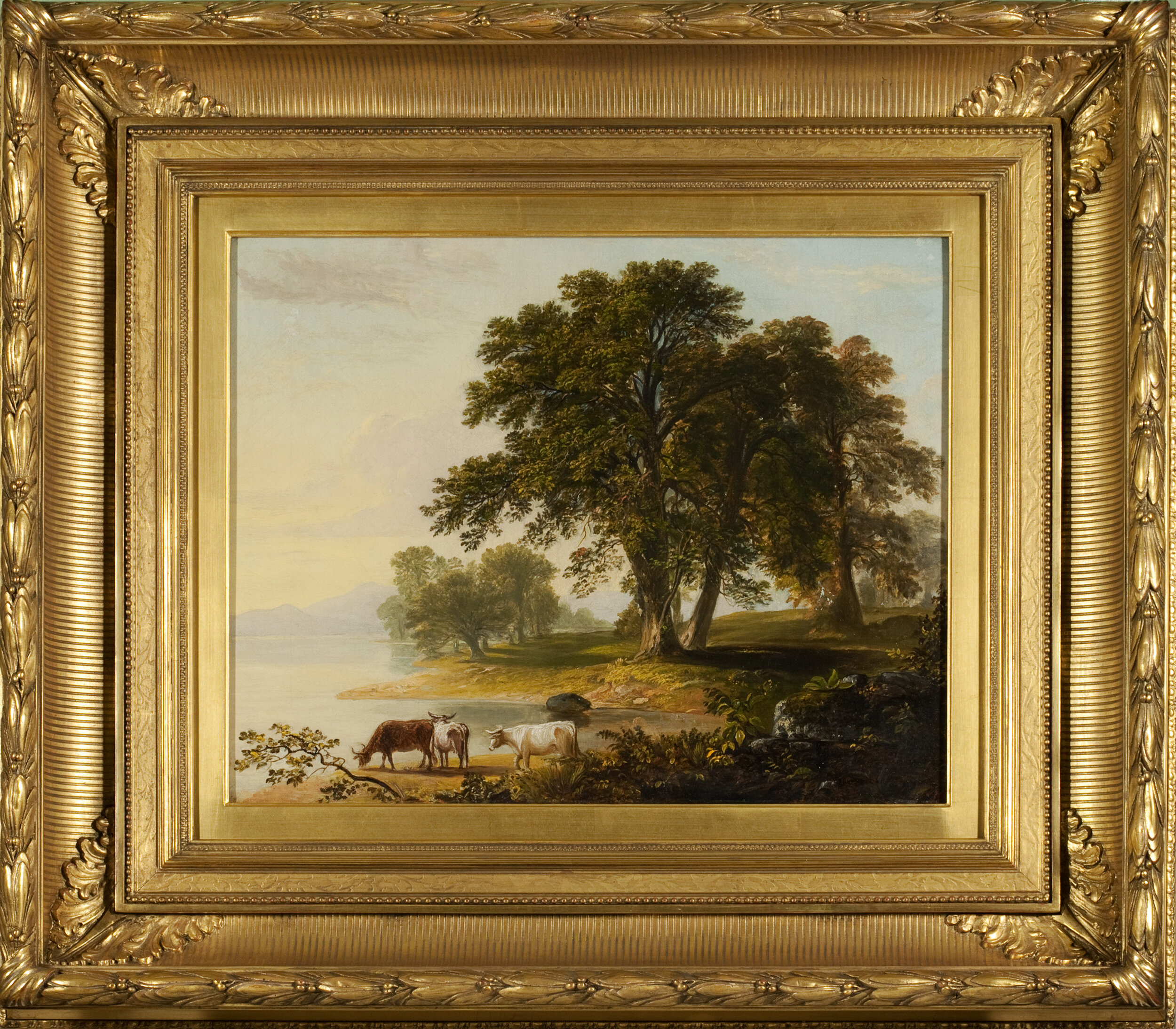 © Asher B. Durand (1796–1886) Pastoral Scene at Lake's Edge, circa 1865 Oil on canvas 17 1/8 x 21 1/8 inches