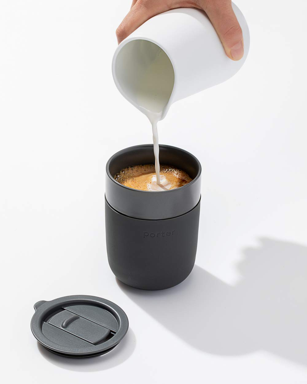 Porter Ceramic Mug with Silicone Sleeve, 12 oz - A great, stylish option for on the go coffee. Offered in 5 colors.
