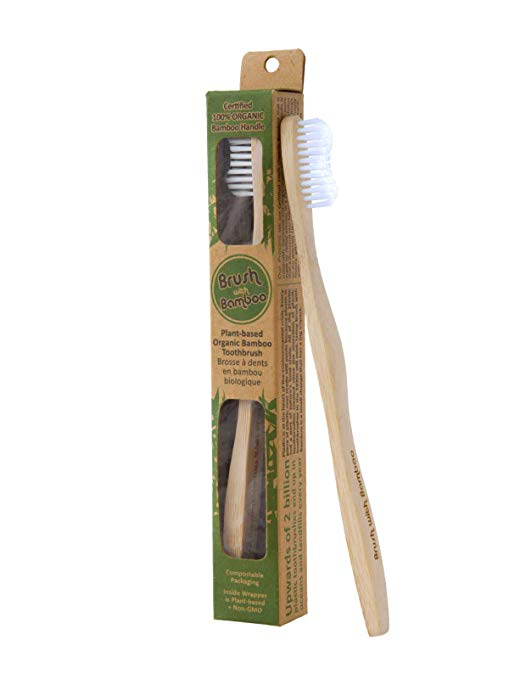 Brush With Bamboo Toothbrush - The wrapper is commercially compostable. Tried another brand before this one and much prefer Brush with Bamboo. It's a short adjustment period wearing the toothbrush head in, but worth it to refuse single use plastic.