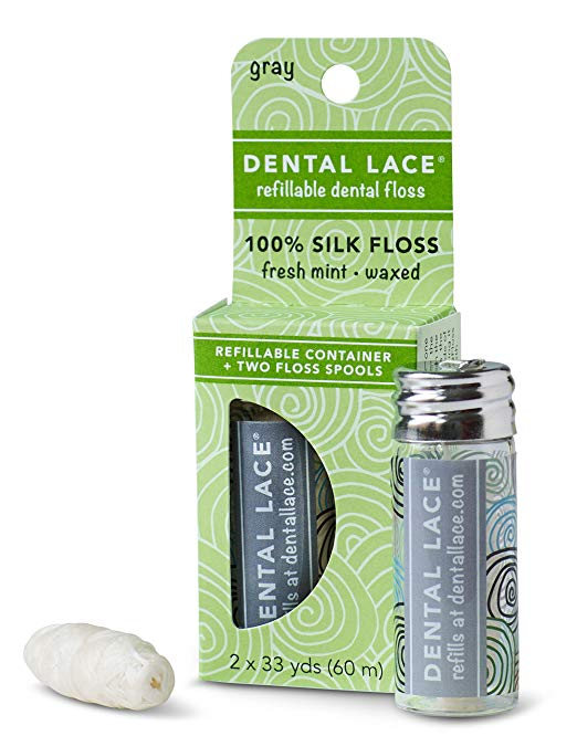 Dental Lace Floss - Dental floss that is compostable in a recyclable glass tube. You can also just purchase the refill. Eco win.