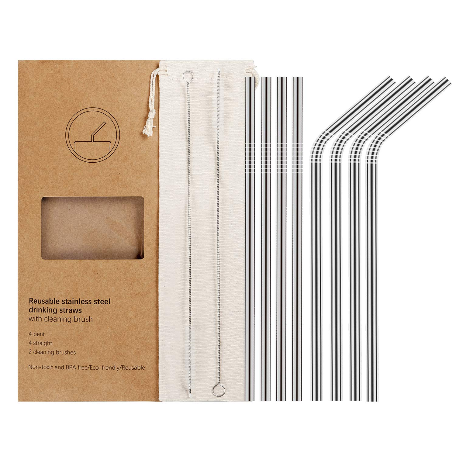 YiHonG set of 8 stainless steel straws - Includes a cleaning brush and pouch. Say no to plastic straws!
