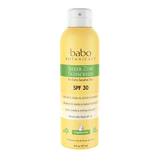 "Babo Botanicals Sheer Zinc Suncreen - Babo Botanicals has a great selection of kids and baby personal care products. While this item is in aluminum, they currently use plastic in many items but have pledged to begin using compostable sugar can ""plastic"" soon."