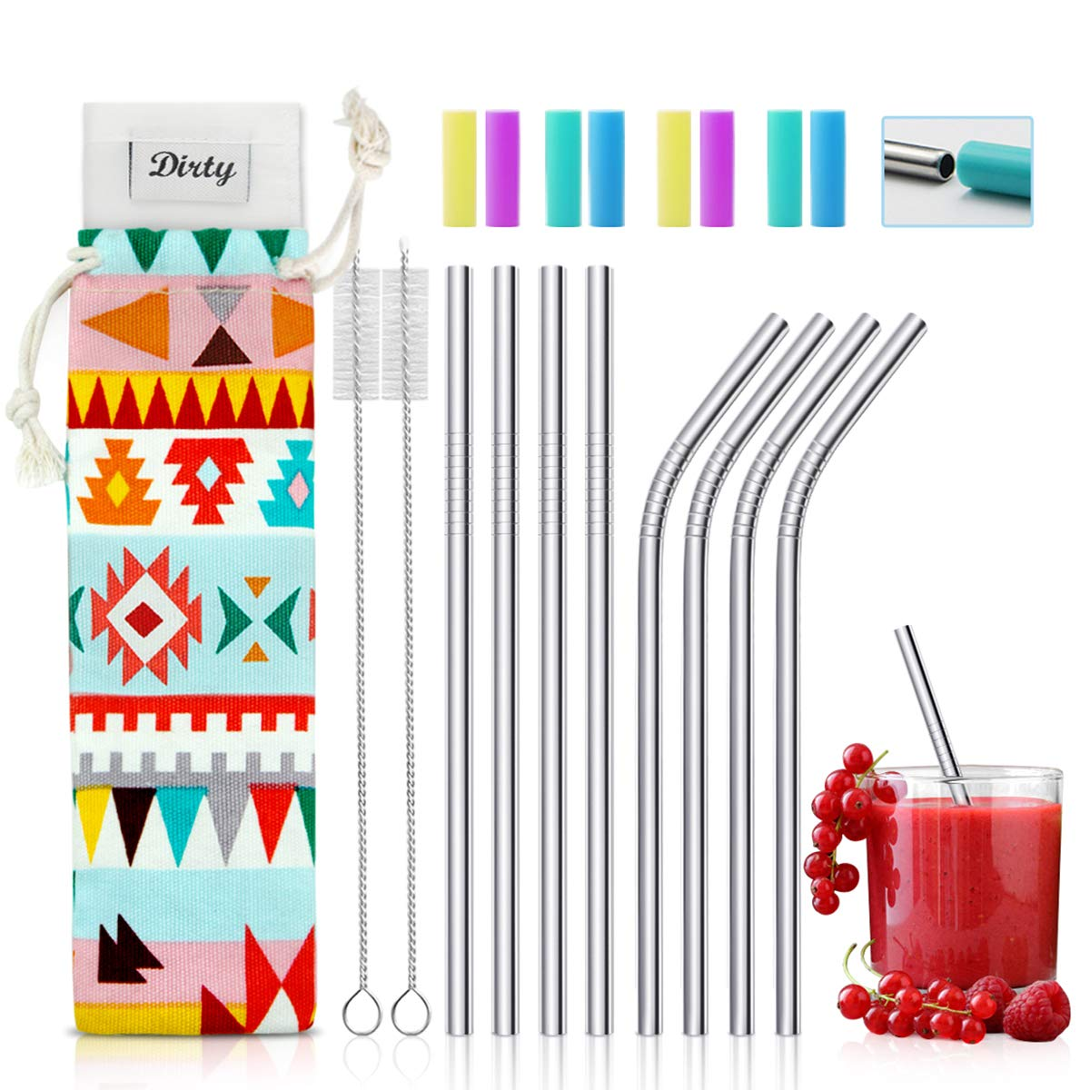 Short Stainless Steel Straws - Great for kids or for cocktails. This set comes with a carrying case, brush cleaner and silicone tips. Great to put in your Silikids cup lids.
