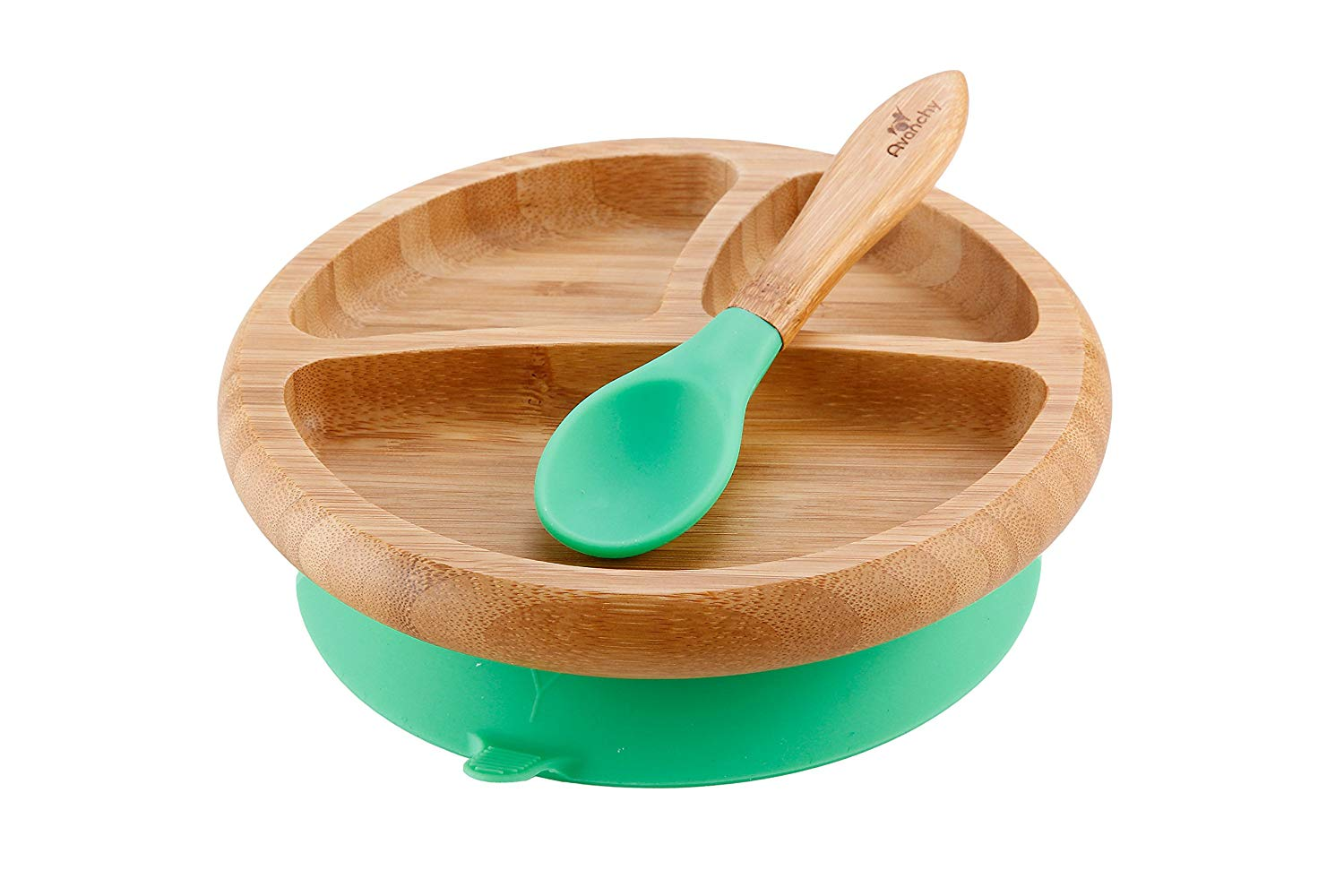 Avanchy Bamboo Plate - We love this bamboo plate with a silicone suction bottom for our baby. They also have bowls and bigger plates. The large, silicone-covered spoons are perfect for teething babies!