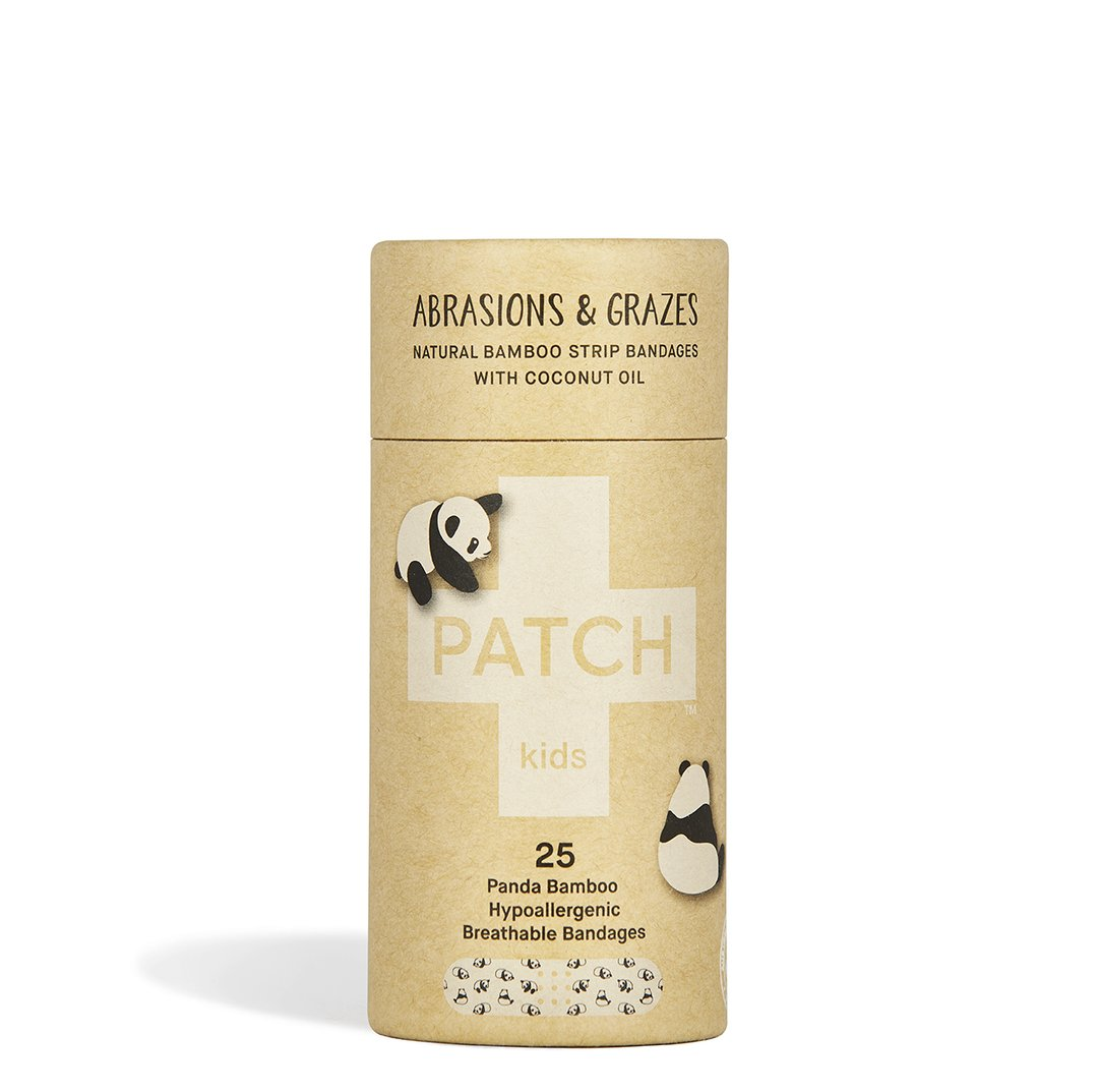 Patch Kids Bandages - Has the cutest panda print and biodegrades within weeks. Made from 100% organic bamboo fibre, enriched with coconut oil to help soothe minor cuts.