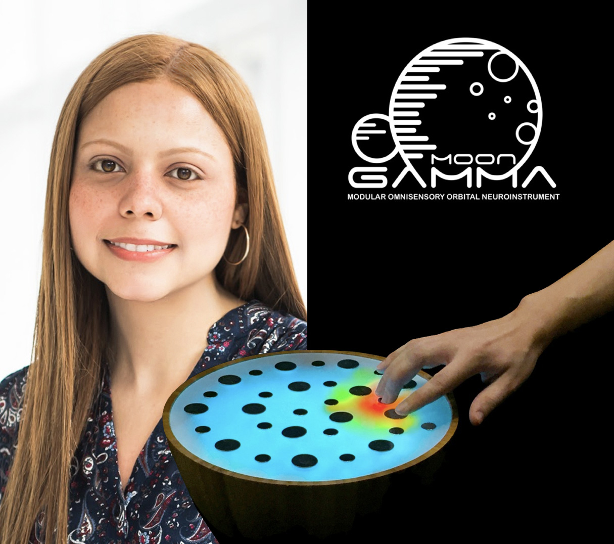 Alexandra Rieger, a doctoral researcher in Tod Machover's Opera of The Future Lab, performed on the GAMMA MOON, a new instrument specially designed to combine 40-hertz audio, light and vibration to encourage immersive entrainment.