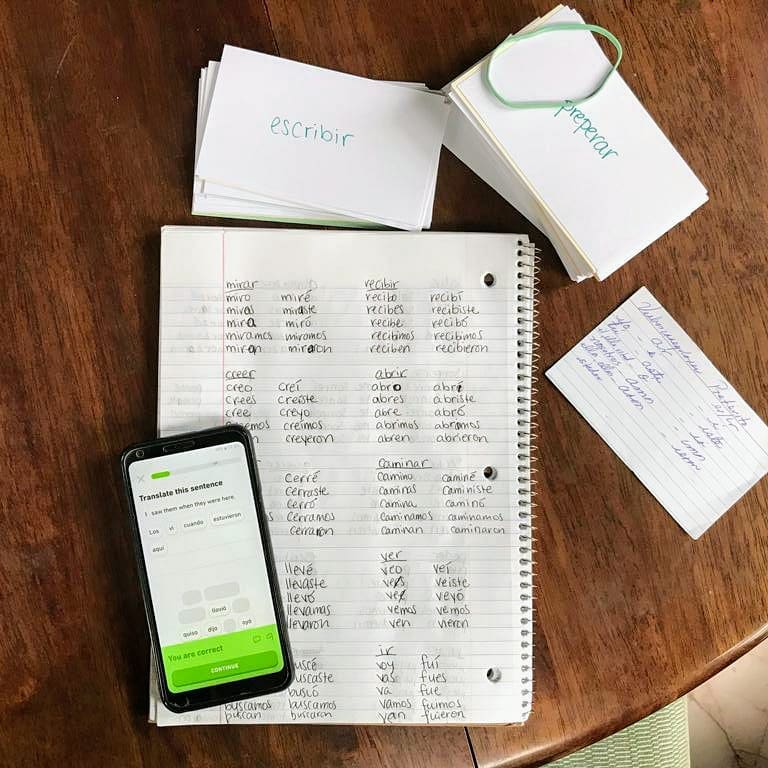 Flashcards, incessant conjugations, and Duolingo, Texas, 2019