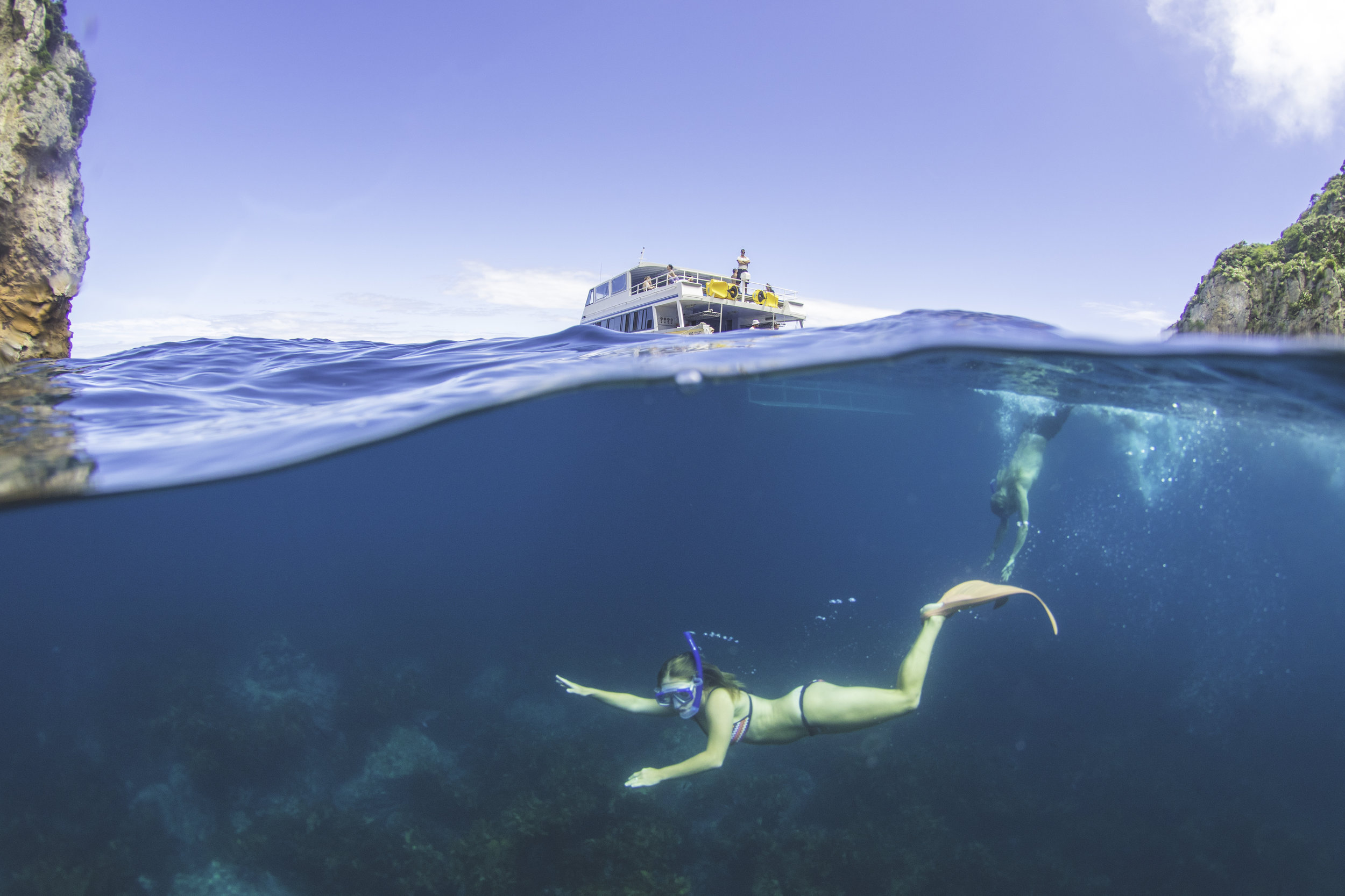 Non-diving partners welcome - the clear waters offer incredible snorkelling, and the SUP's are great fun on board.