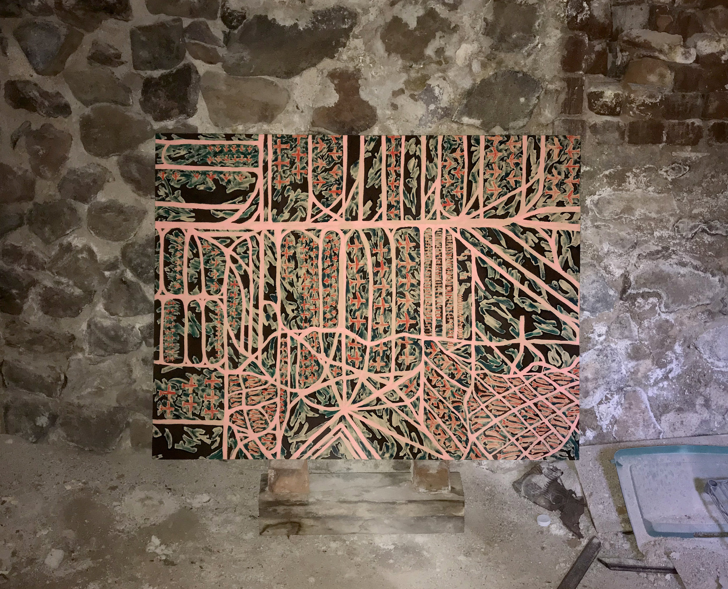 Annie Swiderski,  Resting Place , Acrylic, gouache, and AMARG dirt on canvas, in artist's basement, 2018. Photo by Annie Swiderski (c) 2018.