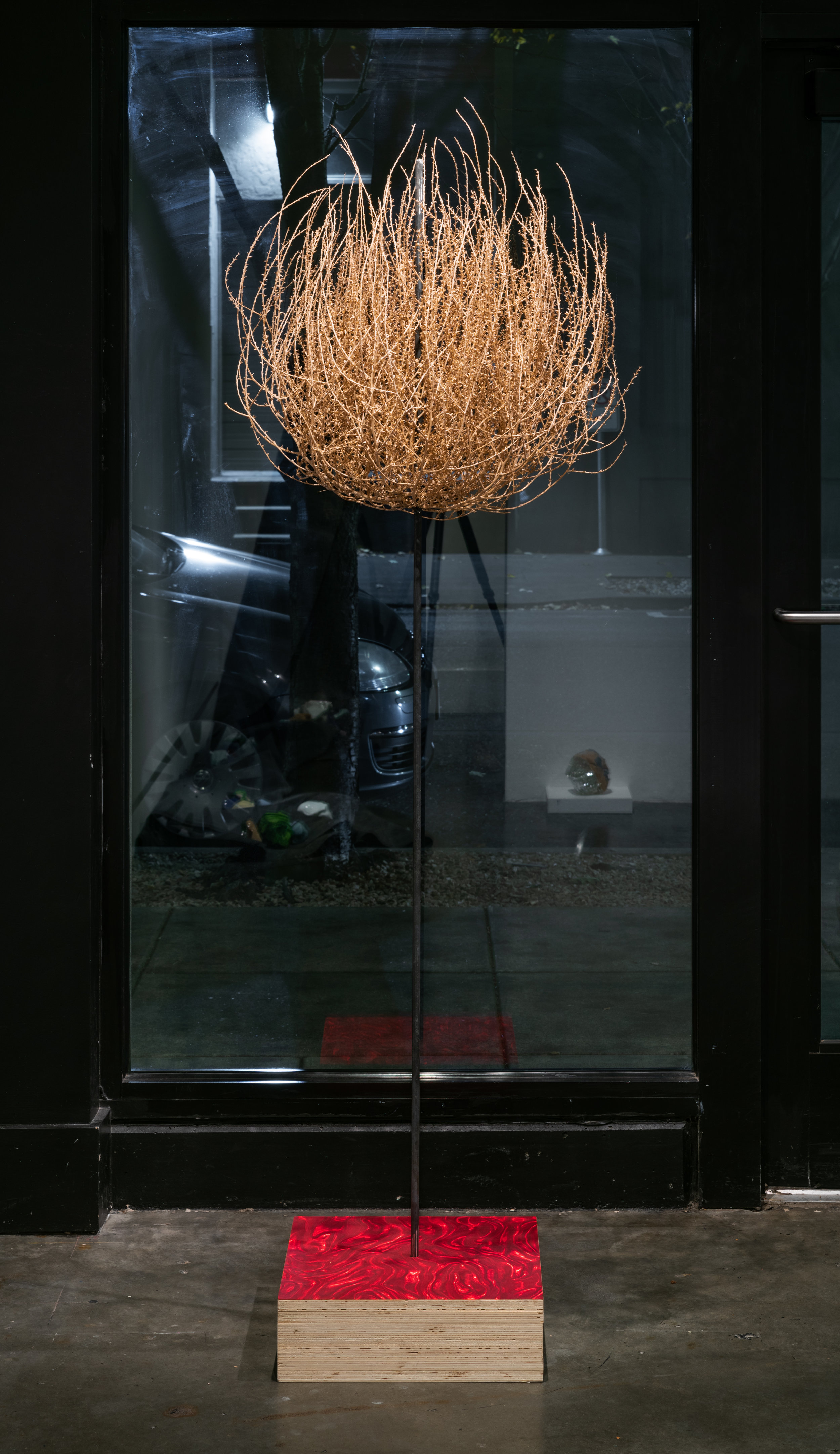 The Guardian , 2018  Mass plywood, wallpaper, steel and tumbleweed  Edition of 2  74 x 16 x 16 in.