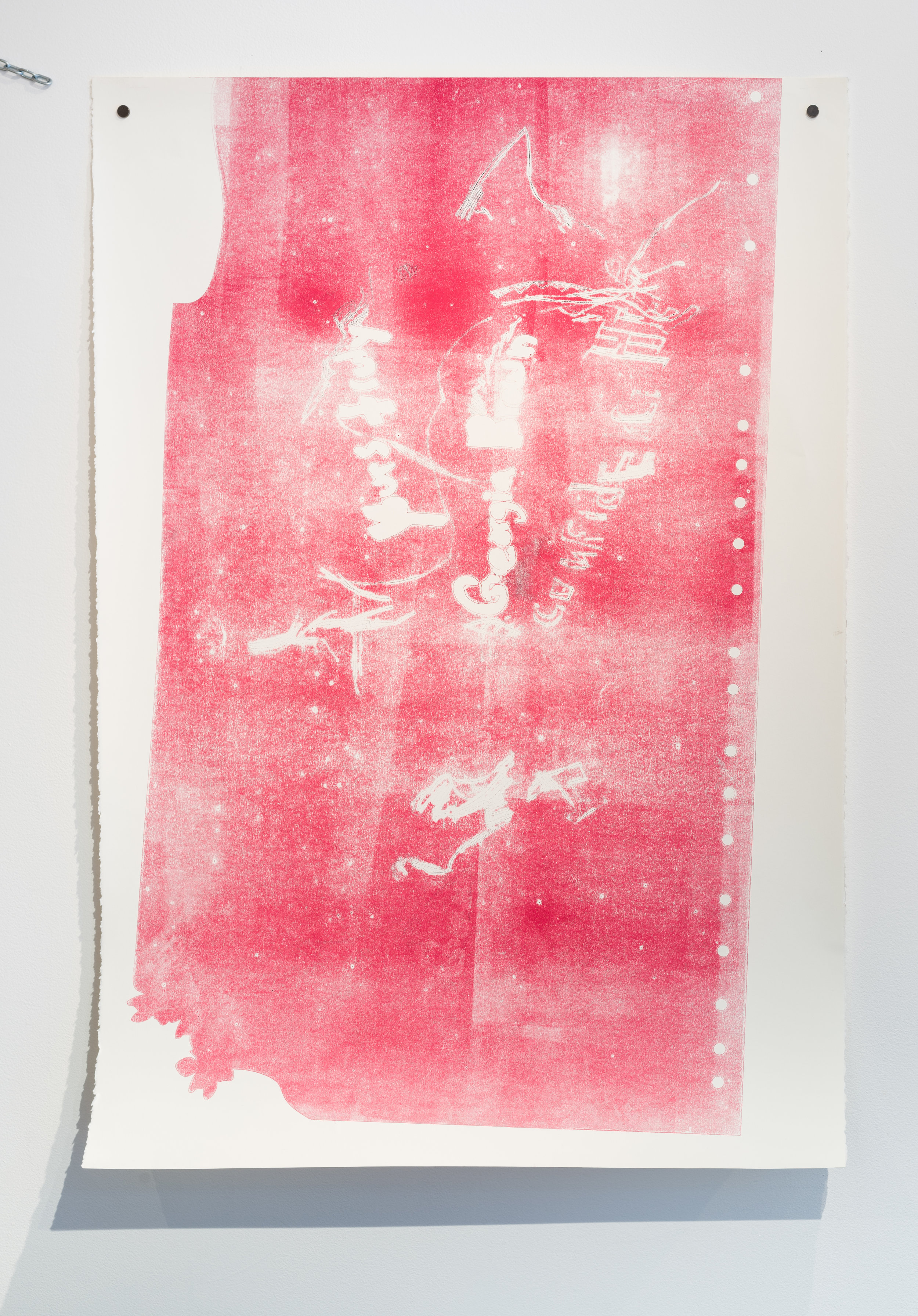 con•fi•dence 2,  2017  Monoprint on paper  44 x 30 1/2 in.