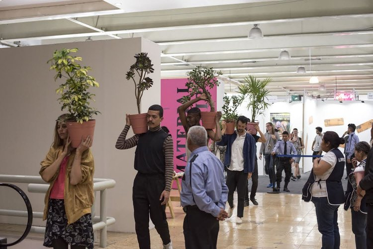 A performance of Geoffrey Farmer's PlantProcession (2017), at Material's 2017 edition as part of IMMATERIAL, curated by Michelangelo Miccolis.
