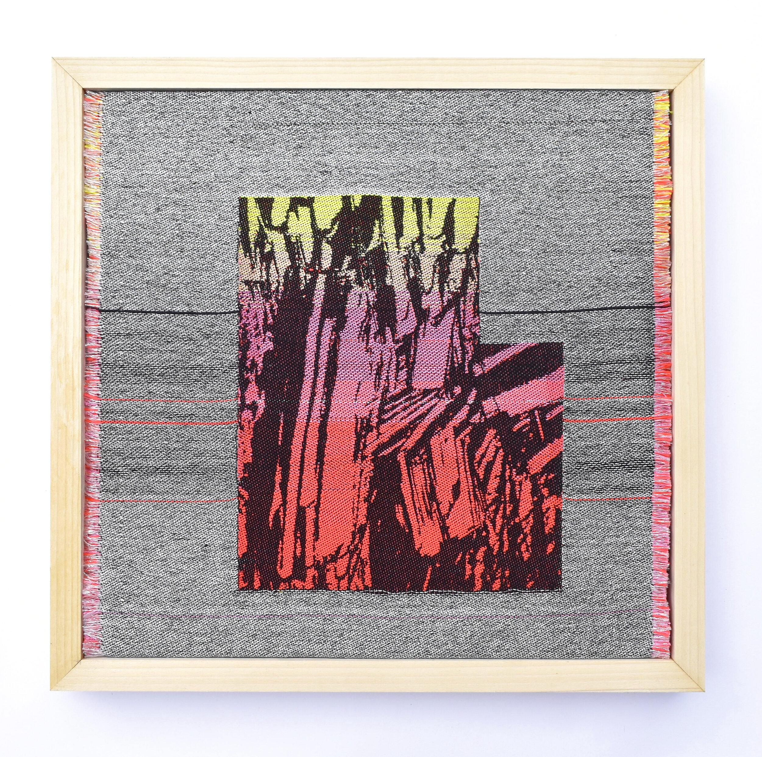 Sarah Wertzberger,  Rising, Falling, Floating , 2019. cotton, poly, metallic thread, 15 x 15 in.